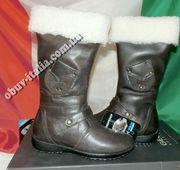 Сапоги детские кожаные GEOX на флисе оригинал из Италии